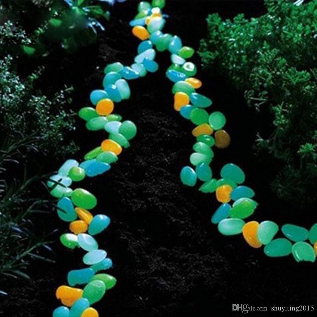 Горячие продажи новинка солнечной энергии свечение галька камень новый дом аквариум сад украшения поддельные каменные поставки Бесплатная доставка