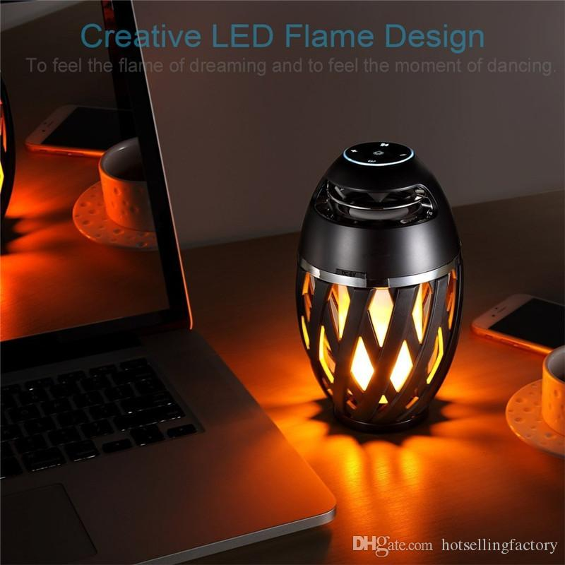 Lámpara de mesa con llama LED Altavoz Bluetooth Altavoz portátil al aire libre con Bluetooth Antorcha Atmósfera Luz USB Carga cálida Luz de baile amarilla