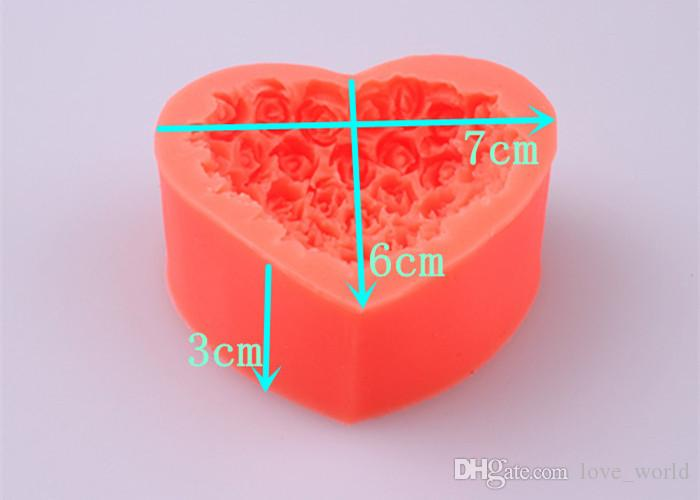 3D Silicone Rose flower Cake mold heart shape chocolate candy Molds Soap Ice rose cake mold for valentine's day gift