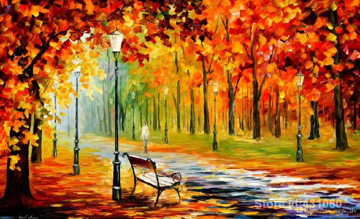 2018 Palette Knife Oil Painting,Wall Art,Silence Of The Fall By ...