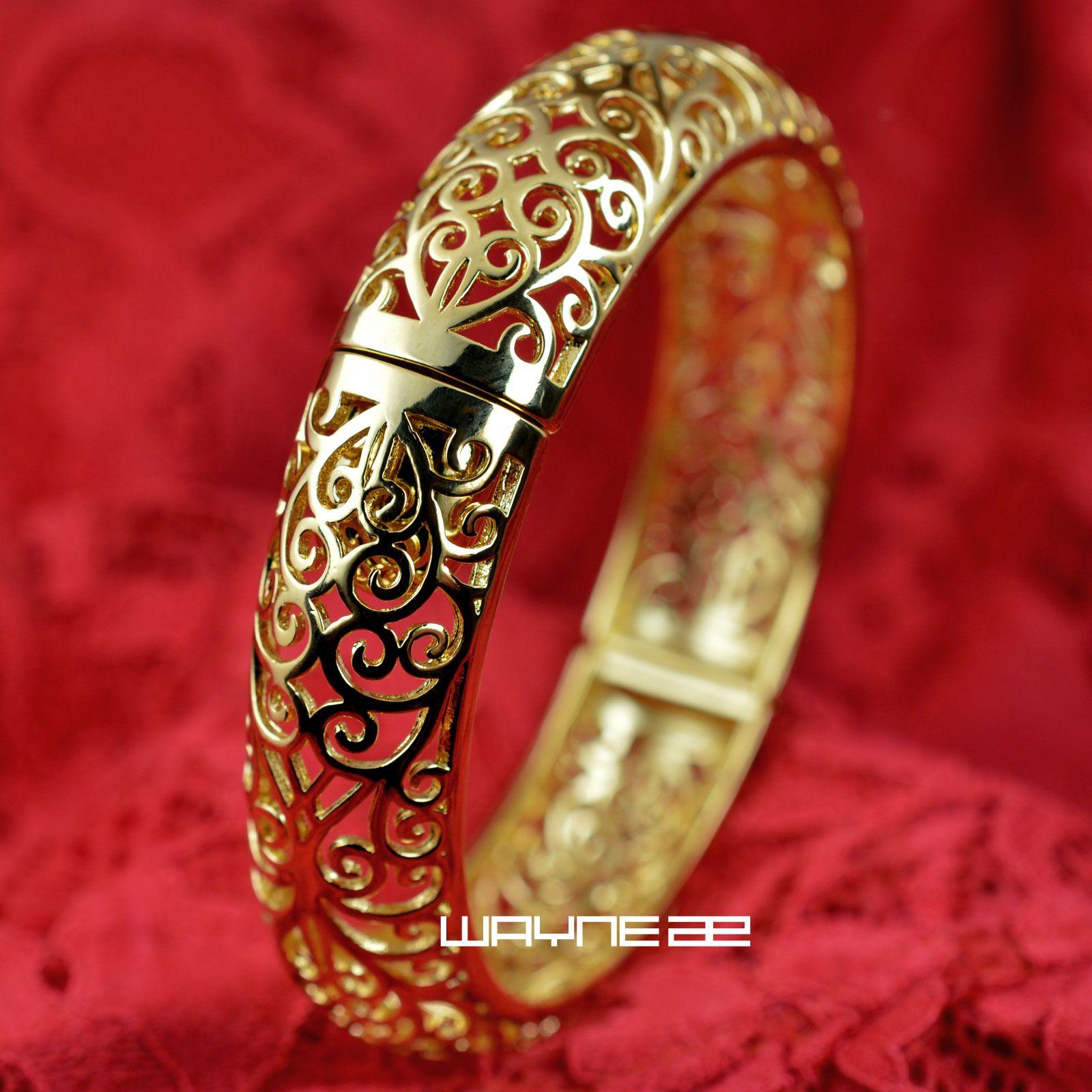 18k yellow Gold GF Vintage style diamond cut solid womens bangle Bracelet G97