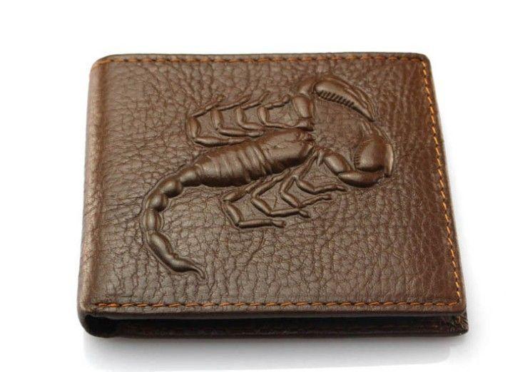 557d3de490c8 Genuine Leather Men Wallets Fashion Scorpion Pattern Design 2 Folds Credit  Card Holder Purse Wallet Free Shipping