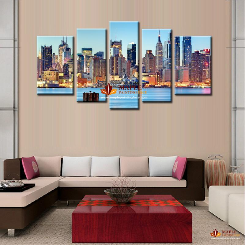 New York City Picture Canvas Painting Modern Wall Art: 2018 Canvas Painting Ideas City Night Art Pictures