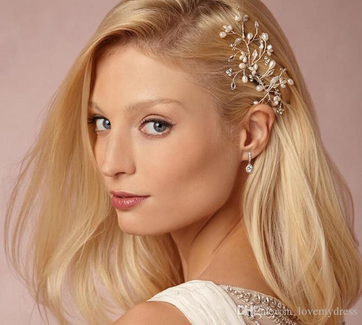 Bridal Hair Accessories Tiaras Pins Ladys Natural Pearls Fascinators Wedding Flower 2018 Crystal Headband Clip