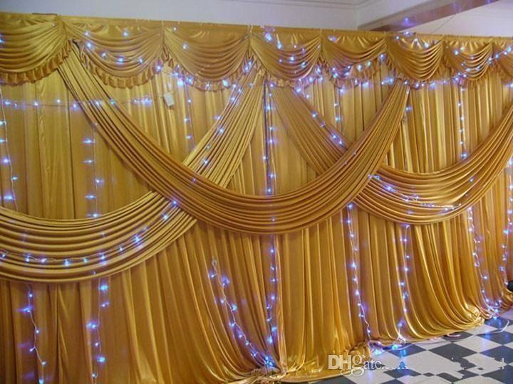 3m6m Ice Silk Wedding Backdrop Curtains With Swag Wedding Drapes