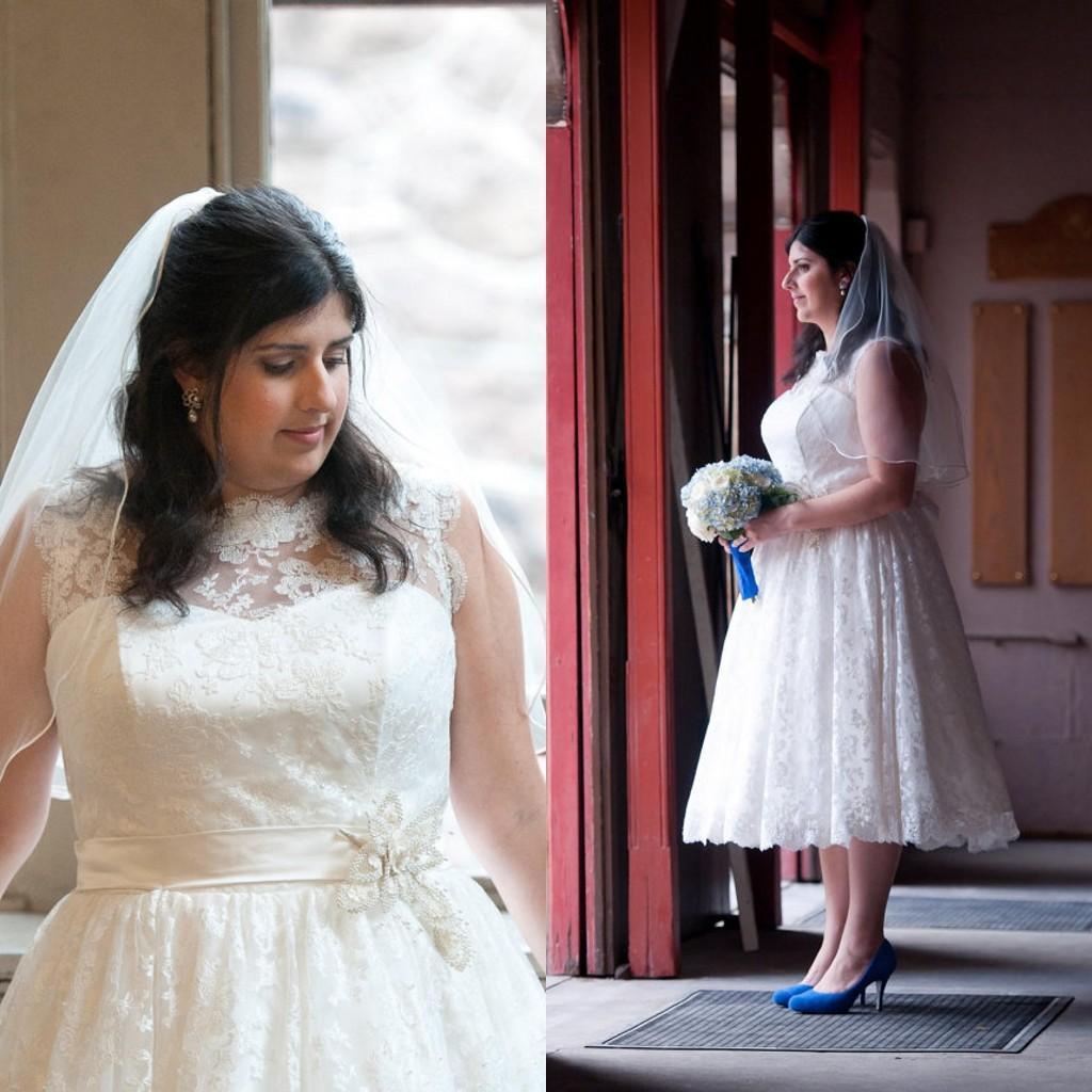 2015 Spring Short Wedding Dresses Plus Size A Line Bateau