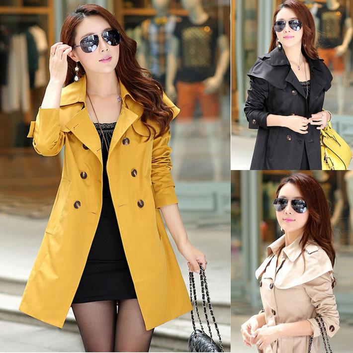 2017 New 2015 Women'S Trench Coat Women Long Winter Coats Khaki ...