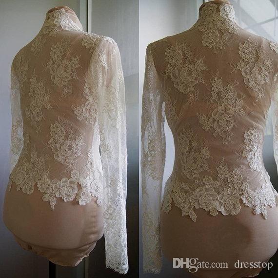 Alta Qualidade Marfim Rendas Jaqueta De Nupcial Com Manga Longa Com Decote Em V Bolero Custom Made Envoltório de Noiva Acessórios Para O Vestido de Noiva