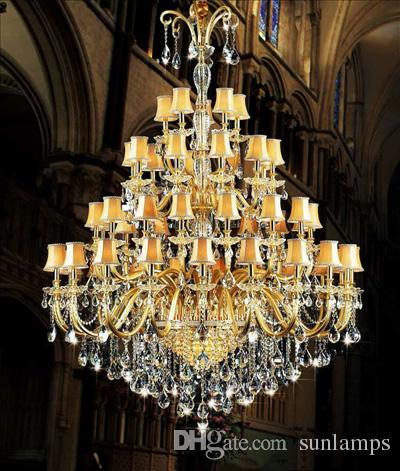 48 Light Large Church Chandelier Led Candle Light Fixture Hotel Long ...