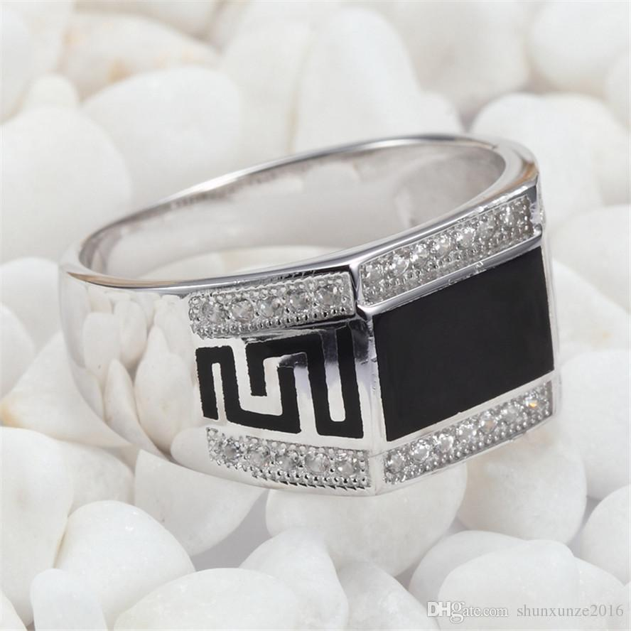 925 Sterling Silber Süße Ringe Schwarzes Harz und weiße Zirkonia Rave Rezensionen Edle Generous S - 3778 sz # 7 8 9 10 11 Favorit