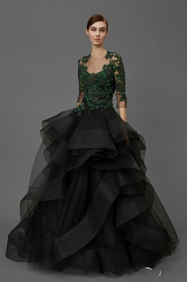 Sheer Neckline Black Ball Gown Evening Dresses With Sleeves Ruffles