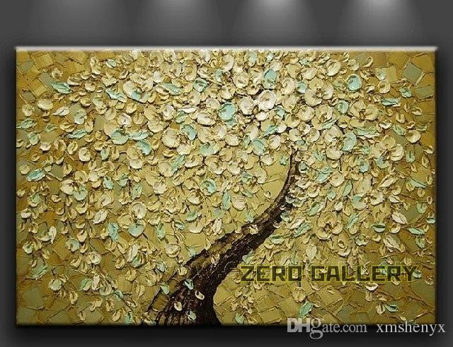 2017 Cheap Wall No Frames Golden Yellow Oil Painting Tree