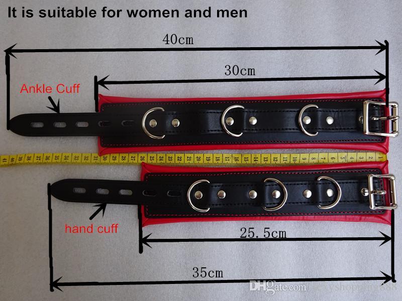 새로운 뜨거운 스테인레스 스틸 금속 스프레더 바 가죽 BDSM 본디지 키트 남여 섹스 슬레이브 롤 플레이 목 칼라 수갑 발목 소맷 부리 섹스 토이
