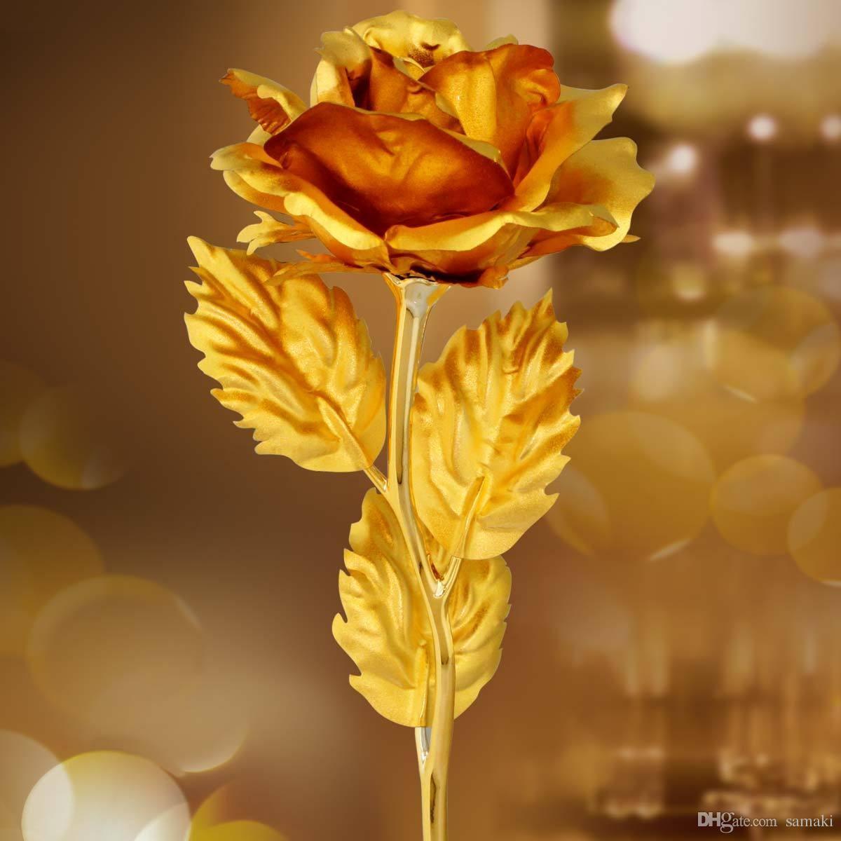 2018 Golden Rose For Valentine Day Artificial Flower Love