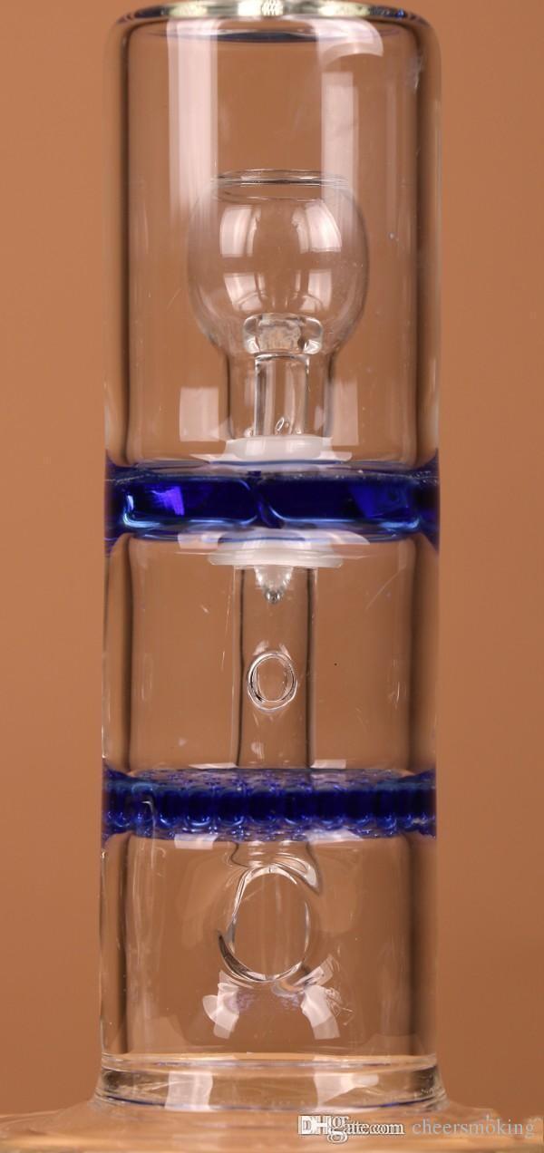 Nova Chegada Dupla Camadas PERC Honeycomb / Tornado Vidro Tubos de Água Dab / Rigs De Petróleo Bongues De Vidro Com Azul Frete Grátis Barato Em Fotografia de Cães