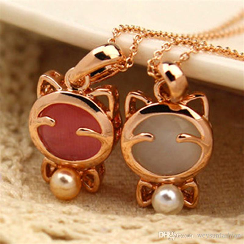 New Fashion Fine Jewelry Beads Opal Smile Lucky Kitty Cat Clavicle Chain Necklaces & Pendants For Women