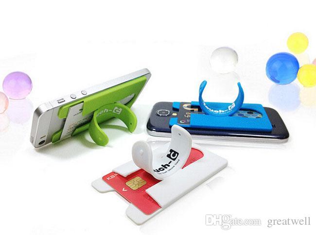 Portable Universal Touch E Touch-C One Touch support de support en silicone autocollant pour iPhone Samsung téléphone mobile avec fente pour carte
