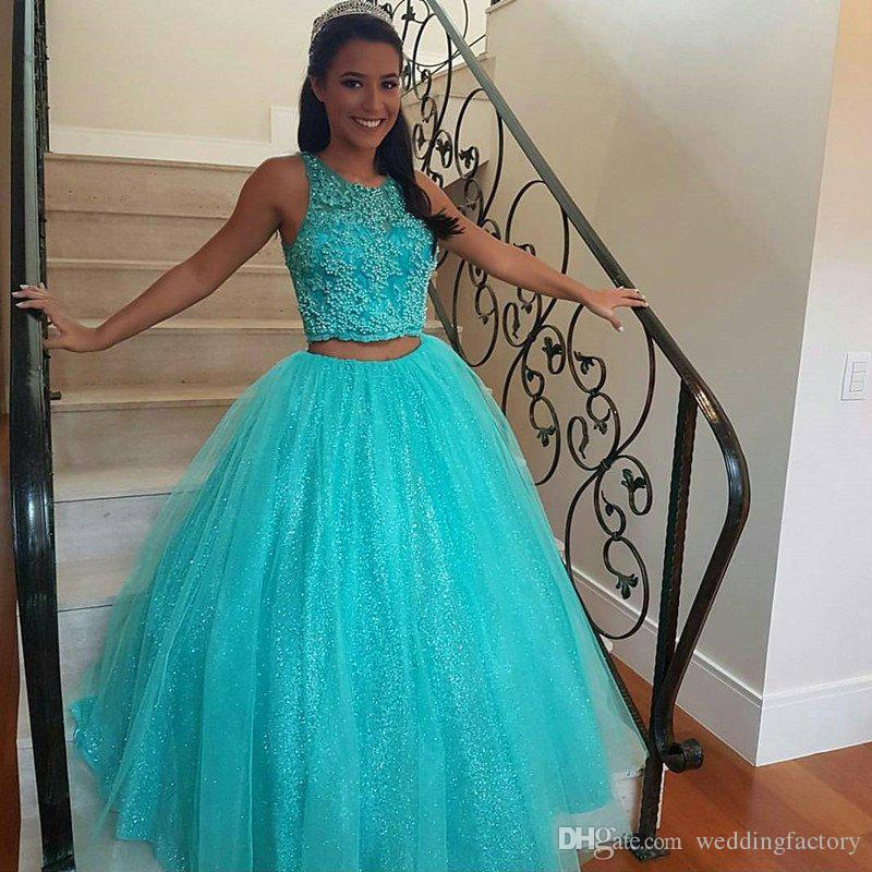27ba4bf940 Two Pieces Quinceanera Dresses Turquoise Ball Gown Prom Dress Sweet 16  Dresses Beaded Crop Top Sleeveless Sequins Skirt With Tulle Cheap Pageant  Dresses ...