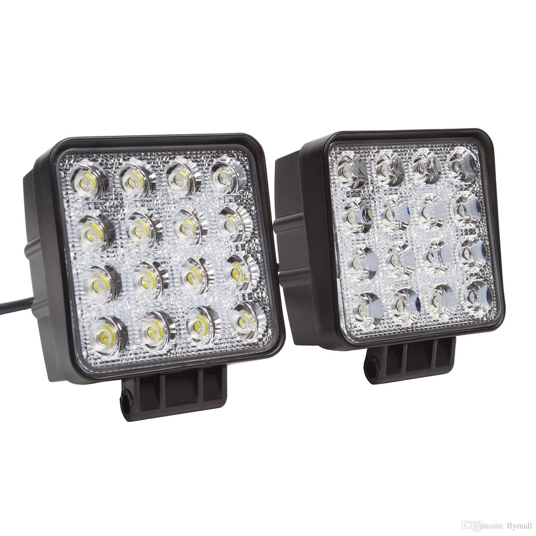 4-Zoll-Quadrat 48w führte Arbeitslicht weg von den Straßenflutlicht-LKW-Lichtern 4x4 weg vom Straßentraktor-Jeeparbeitslicht-Nebelscheinwerfer für Jeep Cabin / Boat / SUV