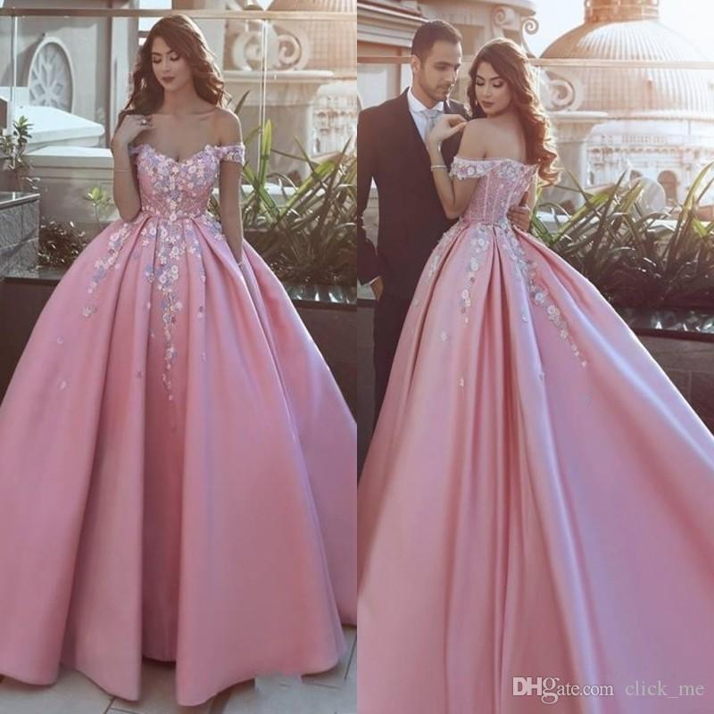 Said Mhamad Pink Off Shoulder Prom Dresses With Appliques Flowers Satin Formal  Dresses Evening Wear Zipper Back Custom Made Bridal Gowns Long Red Prom ... 29f244fbdac9