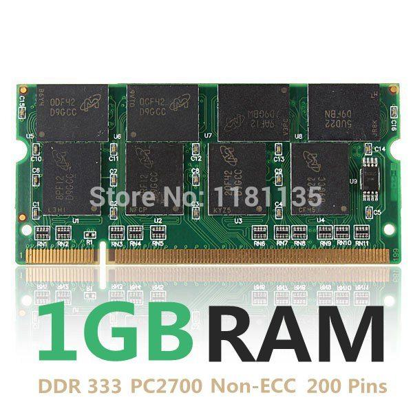 Nouvel ordinateur portable DDR333 PC2700 de 1 Go non-ECC Cl2.5 PC mémoire DIMM RAM 200 broches