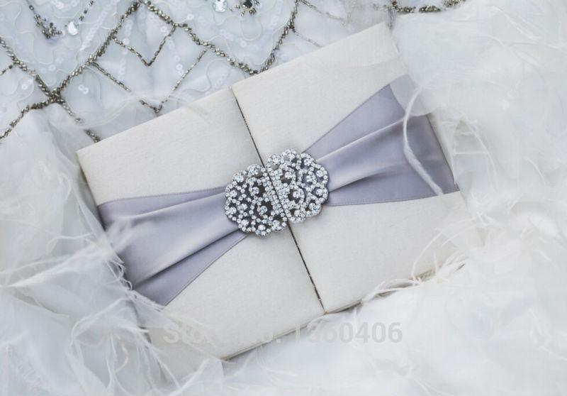 Boxed Wedding Invitations Wholesale: Wholesale 2016 Luxury Silver Silk Satin Box Wedding
