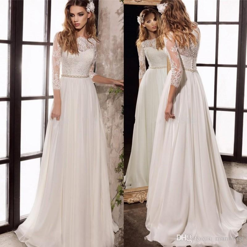 compre boho 3/4 vestidos de novia de la manga elegante apliques de
