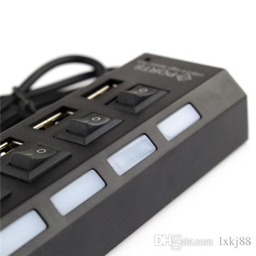 Высокая скорость 7 порт USB 2.0 концентратор адаптер разъем ON / OFF переключатель для портативных ПК MAC