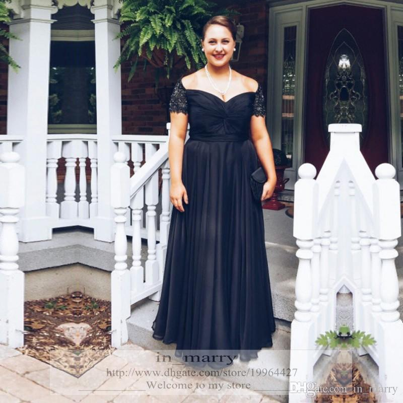 2016 Elegant Plus Size Black Mother Of The Bride Dresses A Line Off ...