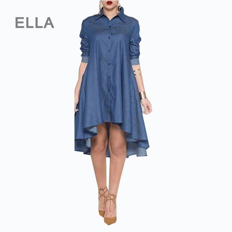 ff7fda7be30 Acheter Femmes Denim Shirt Dress 2016 Printemps À Manches Longues Turn Down  Col Asymétrique Jeans Dress Casual Blue Club Vestidos Femininos De  22.69  Du ...