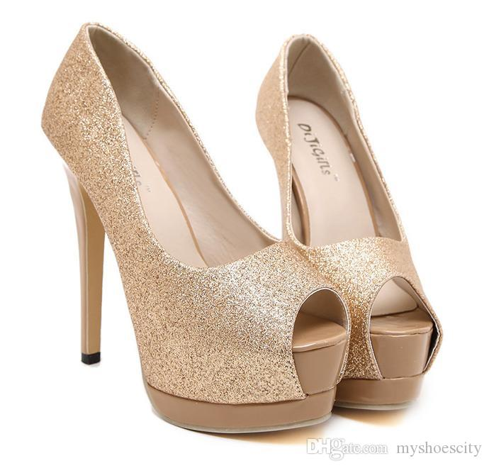 df9d4626ee15 2016 Gold Champagne Party Evening Shoes Women High Heels Peep Toe Platform  Shoes Sexy Ladies Pumps 14cm Size 35 To 40 Sexy Shoes Clogs For Women From  ...