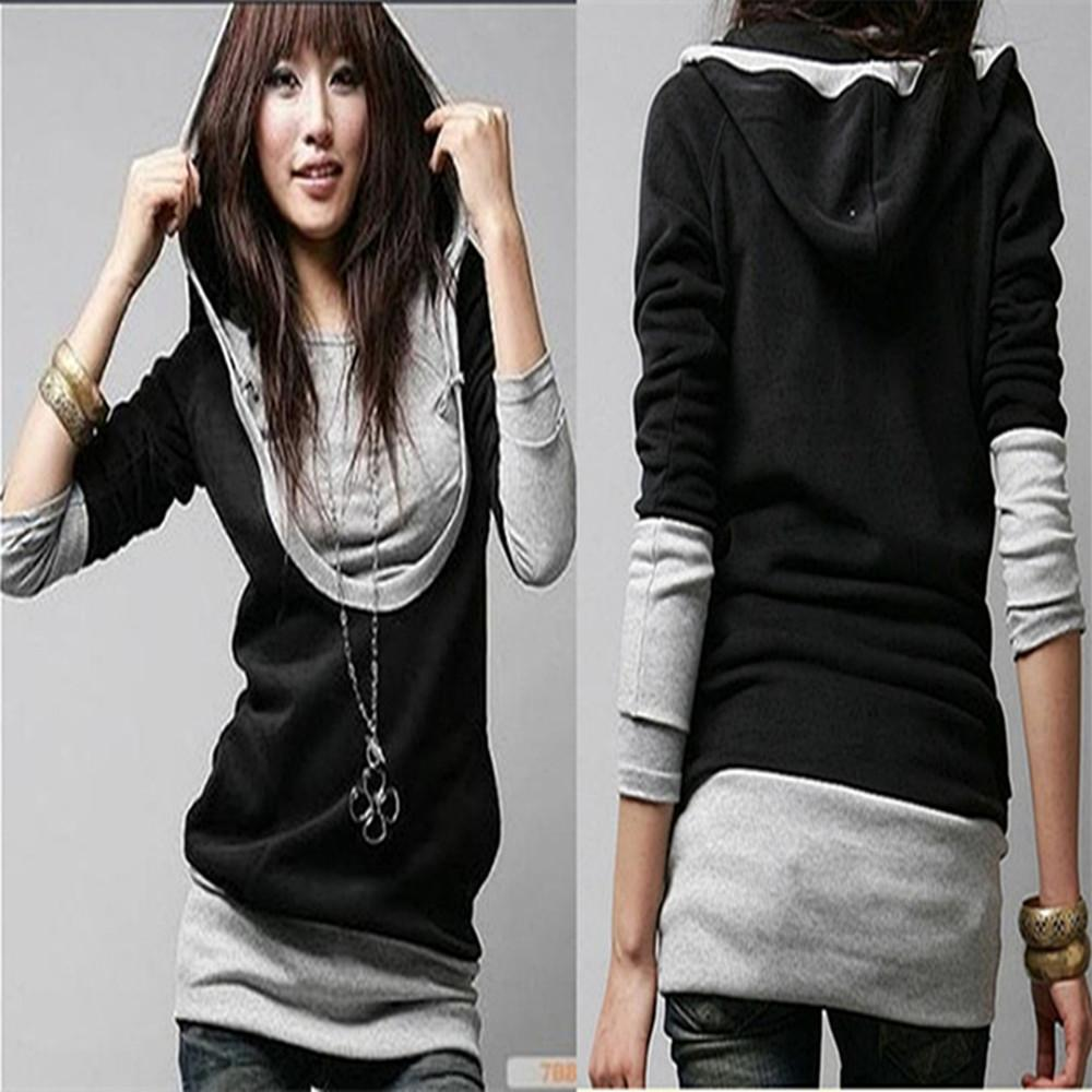 New Hot Women Female Girls Students Large U Neck Long Sleeved ...