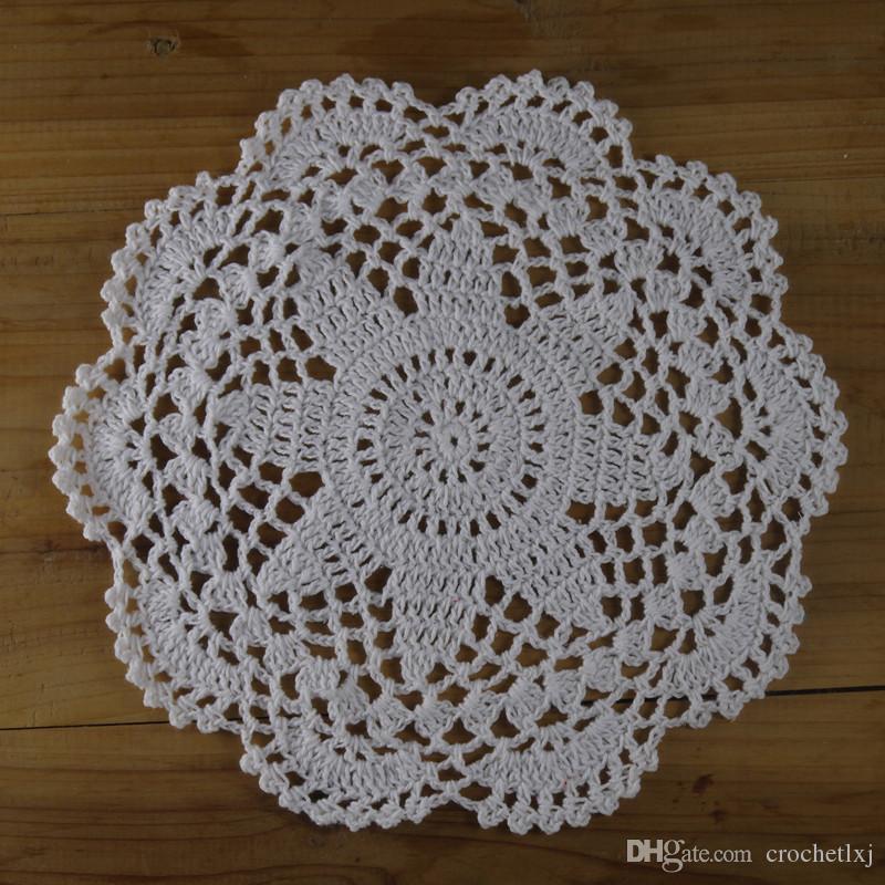 Großhandel 20cm 8 Hand Gehäkelte Deckchen Weiß Florale