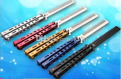 Foldable Stainless Steel Comb Hand Made Hair Pomade Styling Butterfly Comb C-25 Hairdressing Knife Comb For Training