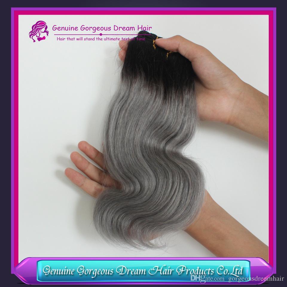 Ombre 1b / gris peruana del cuerpo humano del pelo humano Ombre gris humano peruano armadura del pelo paquetes de extensiones de cabello humano