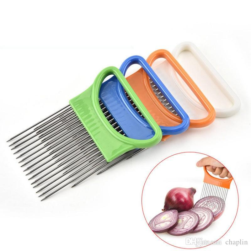 Easy Cut Onion Holder Fork 4 Colors Stainless Steel +Plastic Vegetable Slicer Tomato Cutter Metal Meat Needle Gadgets Meat Frok