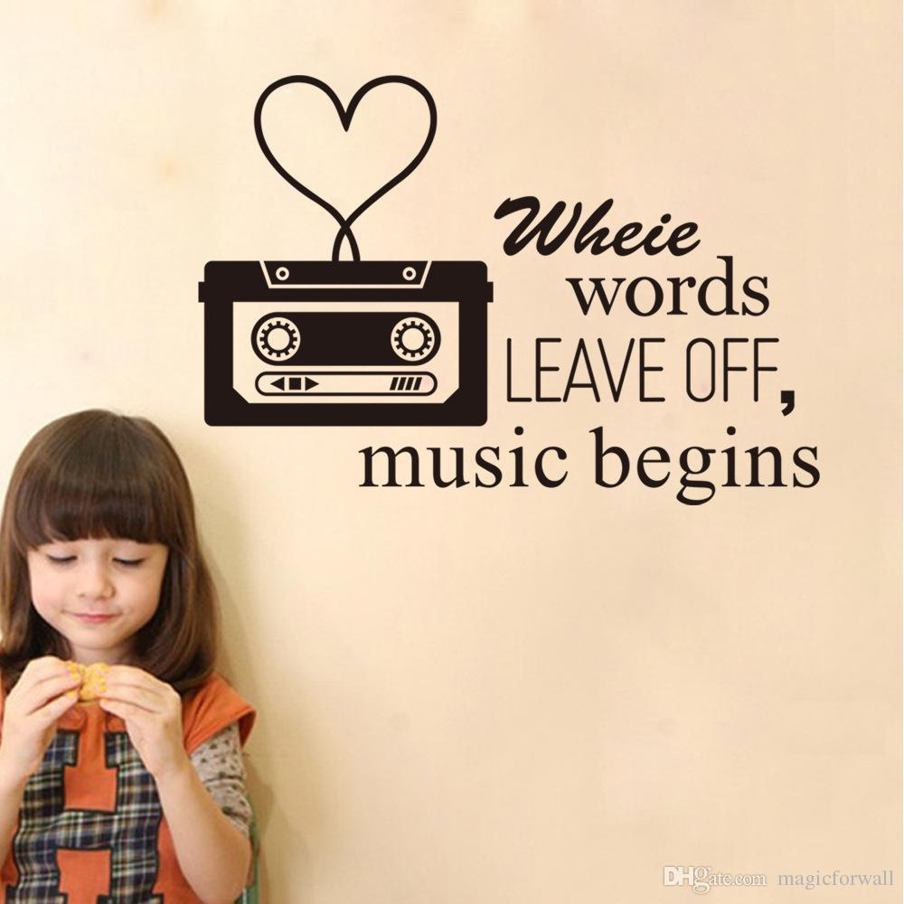 Classic Black Music Player Wall Art Mural Decor Words Leave Off Music Begins Quote Wallpaper Decoration Sticker Home Art Decal Decor