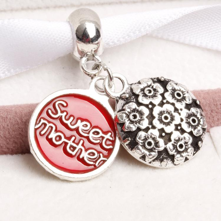 Big Hole Loose space Beads sweet mother charms pendants For Pandora DIY Jewelry Bracelet women jewelry wholesales