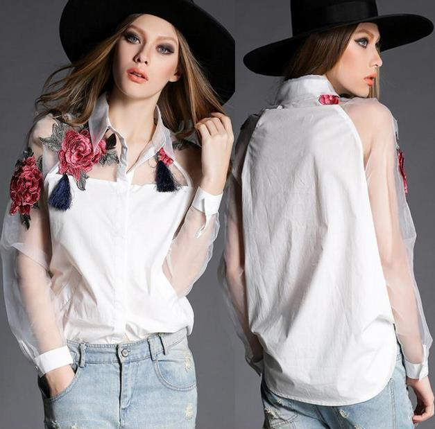 2018 New Spring Summer Women'S Rose Embroidery Shirt Organza Long Sleeve  Patchwork Loose Tops Cotton Blouse Shirt White From Sunbb03, $18.0    Dhgate.Com