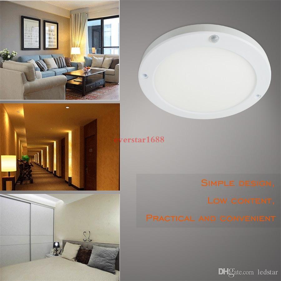 18 w pir led sensör downlight süper parlak led panel ışık kızılötesi dedektör motion anahtarı yuvarlak gömme montaj işık