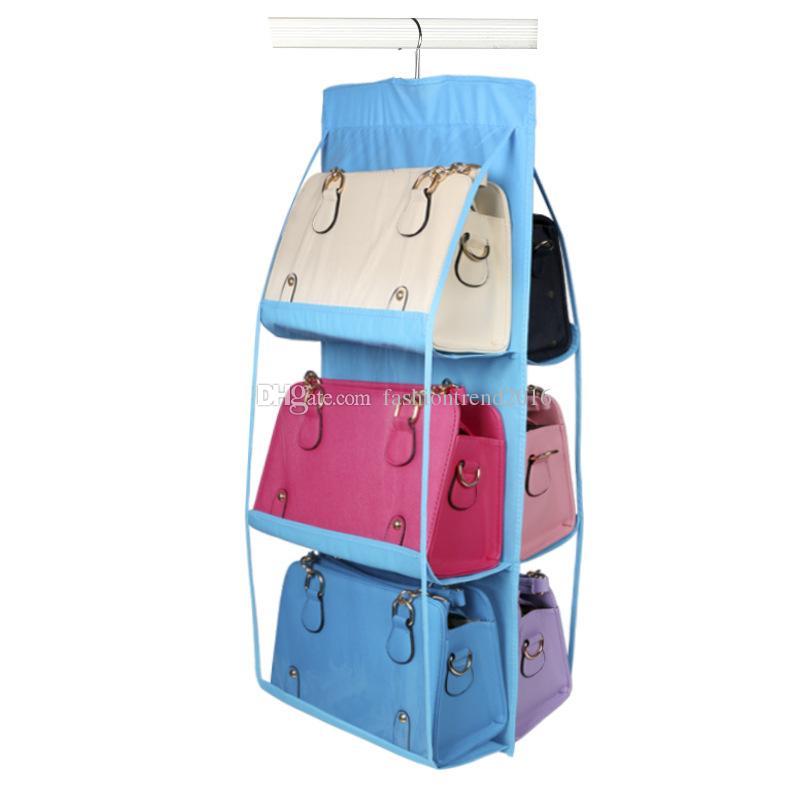 9 Cores Organizador Da Família Mochila bolsa Sacos De Armazenamento Pendurado Armazenamento De Sapato Organização 6 Bolso Rack De Cabides De Rack