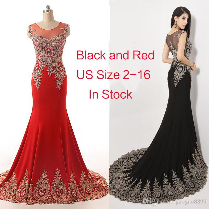 2019 Neck Neck Black Red Formal Da Sera Sera Prom Dresses Beads Real Image Ricamo manica lunga Occasione Pageant Abiti da festa Arabo Plus Size
