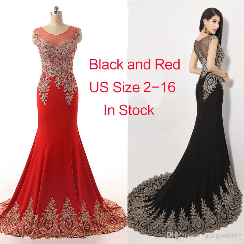 2019 Sheer Neck Black Red Formal Evening Prom Dresses Beads Real Image Embroidery Long Sleeve Occasion pageant Party Gowns Arabic Plus Size