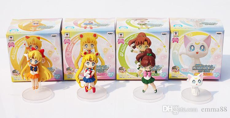 Anime Cartoon Cute Sailor Moon Sailor Jupiter Sailor Venus Q Version Action Figure Toys Dolls