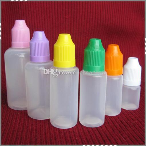 Colorful 5ml 10ml 15ml 20ml 30ml 50ml bottiglie vuote e liquida di plastica contagocce con Bambino Tappi di bottiglia prova e l'ago punte DHL