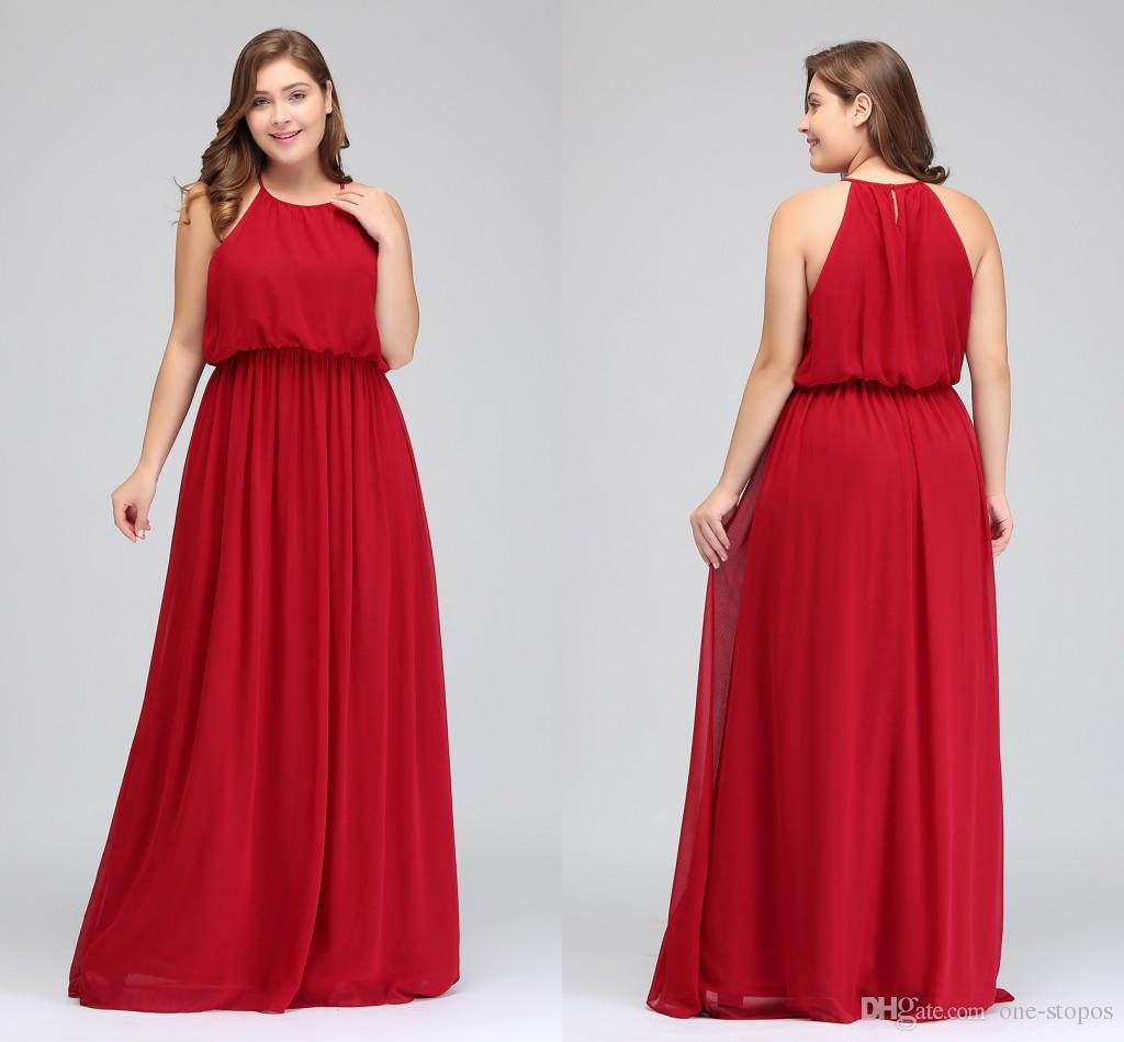 2018 designer long plus size bridesmaid dresses cheap red chiffon 2018 designer long plus size bridesmaid dresses cheap red chiffon maid of honor gowns floor length halter prom party dress cps618 plus size bridesmaid ombrellifo Image collections
