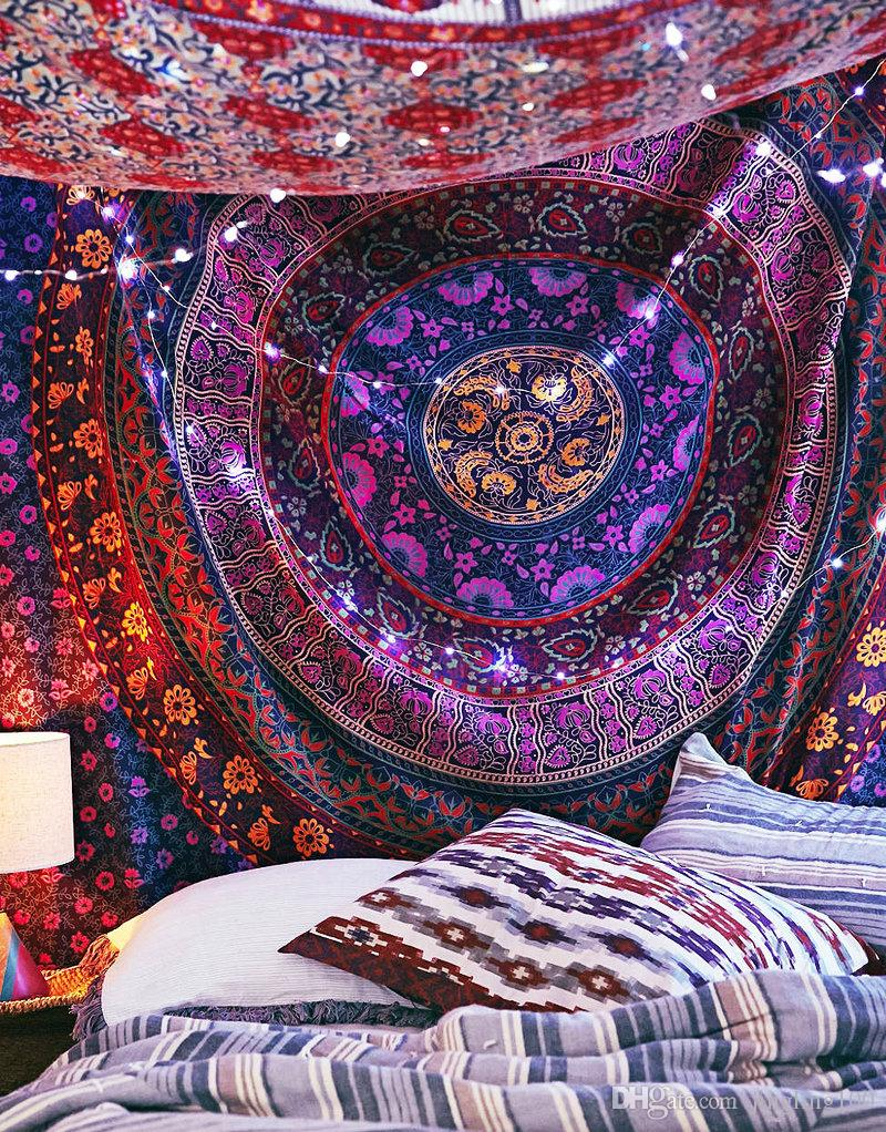 150 * 200cm Indian Mandala Style Wall Decorative Hanging Tapestries Bedspread Ethnic Throw Art Floral Towel Beach Meditation bed ronm decr
