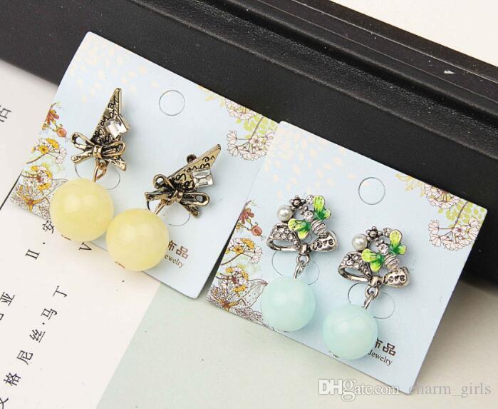 Случайное смешивание 15 стиль 15 пар анти аллергия Кристалл жемчуг драгоценный камень кисти серьги стержня мотаться люстра серьги