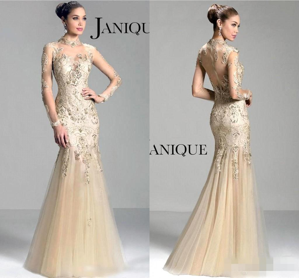 Janique 2016 Charming Sheer Illusion Long Sleeves Evening Dresses ...