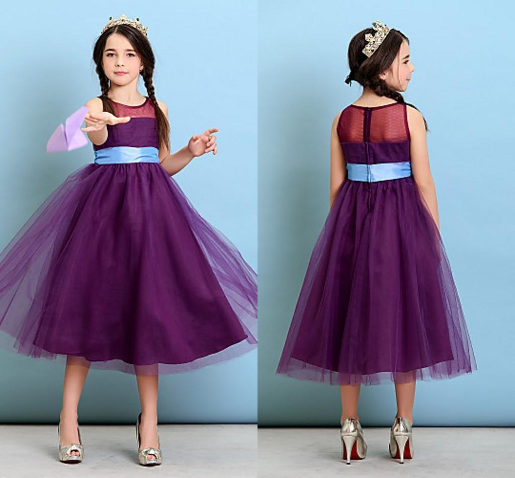 Compre Vestidos De Té Púrpura Flor De La Longitud De Chicas Para Las ...